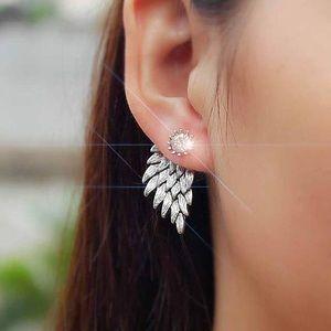 Gold Angel Wing Rihnestone Earrings